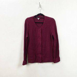 Croft & Barrow Burgundy Knit Cardigan Sweater
